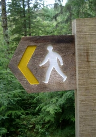 Walking around Llanwrda footpath-sign