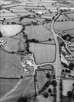 Part of the Via Julia crosses the road to the station by Pentre Meurig Farm. (You can just see the faint straight white line to the left of the A40 in the fields.)